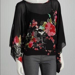 Black Sheer Floral Cape Sleeve Top